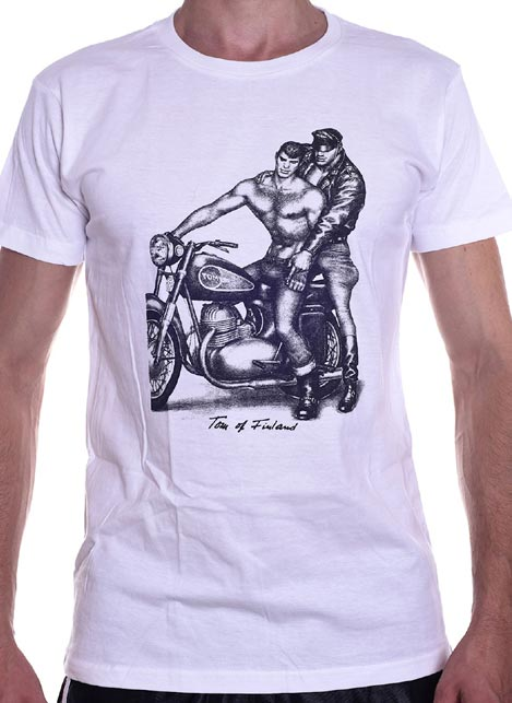Tom of Finland Motorcycle T-Shirt White Extra Large
