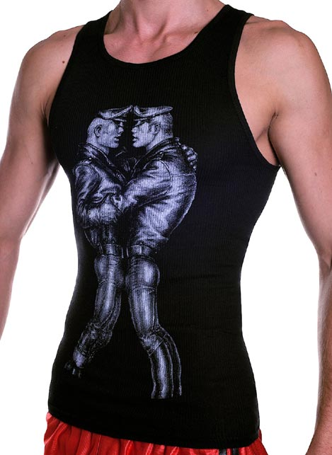 Tom of Finland Leather Duo Tank Top Black Extra large