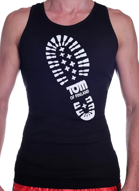 Tom of Finland Boot Print Tank Top Black Extra Large