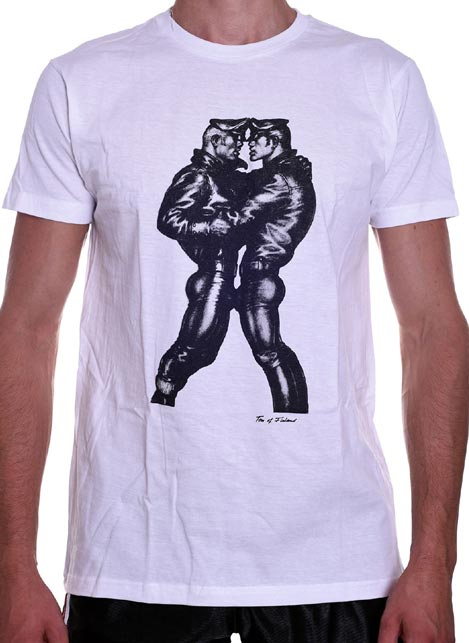 Tom of Finland Leather Duo T-Shirt White Medium