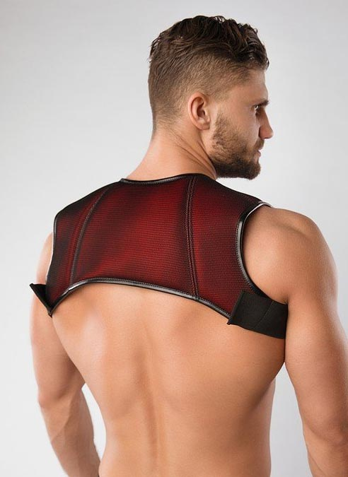 Maskulo 3D Mesh Chest Holster Harness Red Large