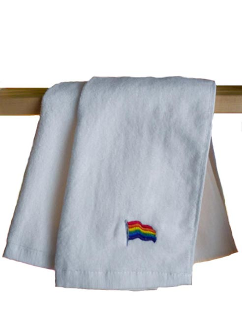 Rainbow Flag Gym Towel White 112 x 30 cm