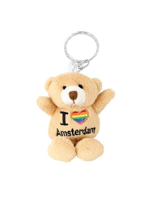 Rainbow Keyring Bear Plush I Love Amsterdam