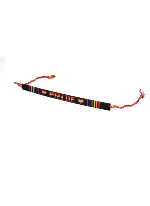 Rainbow Friendship Bracelet Pride Black