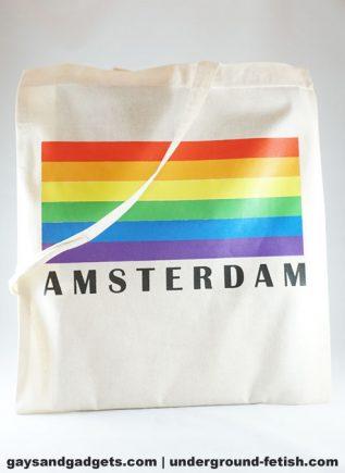 Rainbow Canvas Tote Amsterdam Horizontal Flag White 41 x 38 cm