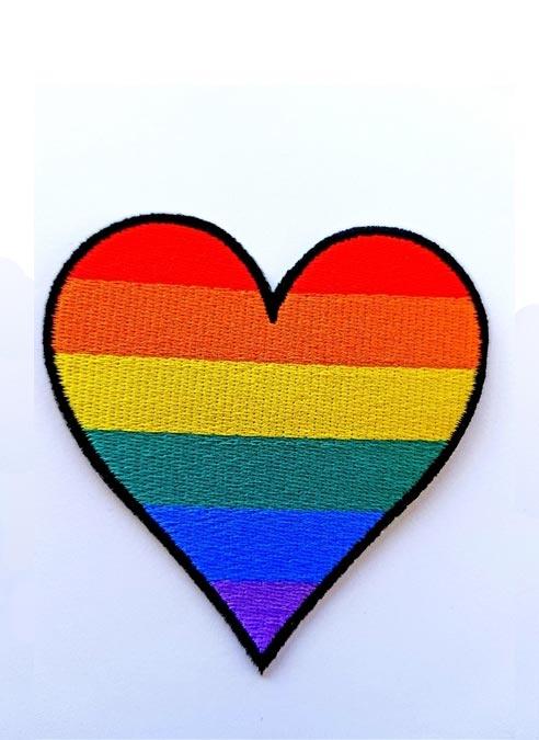 Sew on Rainbow Heart Patch