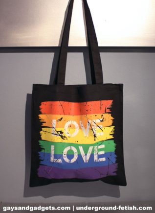 Rainbow Canvas Tote Love Black 41 x 38 cm