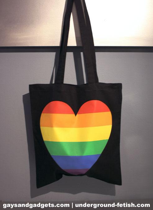 Rainbow Canvas Tote Heart Black 41 x 38 cm