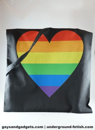 Rainbow Canvas Tote Heart Black 41 x 38 cm