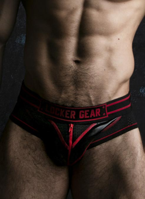 Locker Gear Briefjock with Zipper Red Extra Large