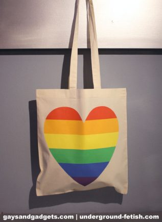 Rainbow Canvas Tote Heart White 41 x 38 cm