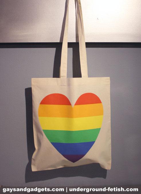 Rainbow Canvas Tote Heart White 41 x 38 cm