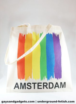 Rainbow Canvas Tote Amsterdam Vertical Flag White 41 x 38 cm