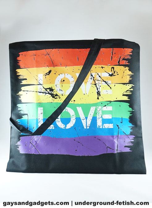 Rainbow Canvas Tote Love Black 41 x 38 cm