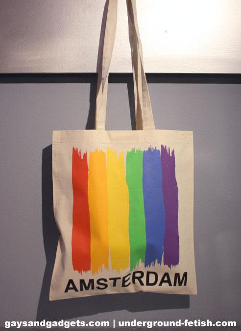Rainbow Canvas Tote Amsterdam Vertical Flag White 41 x 38 cm
