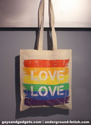 Rainbow Canvas Tote Love White 41 x 38 cm