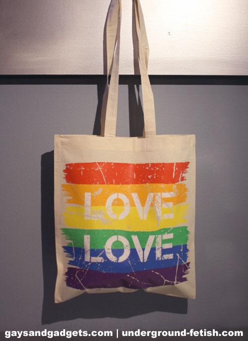 Rainbow Canvas Tote Love White 41 x 38 cm