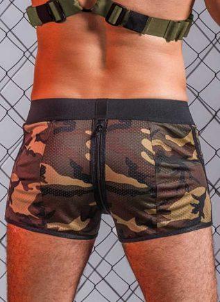 Maskulo Enforce Zipped Camo Shorts Small