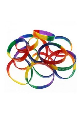 Pride Rainbow Silicone Bracelet - white print