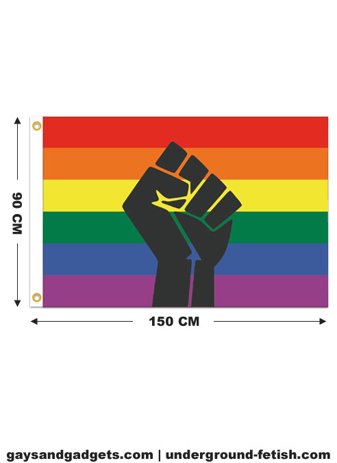 Flag Rainbow Black Lives Matter Fist 90 x 150 cm