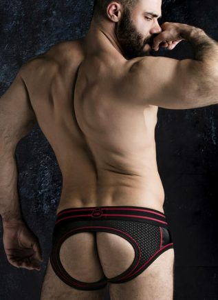 Locker Gear Backless Brief with Front Opening Red Small